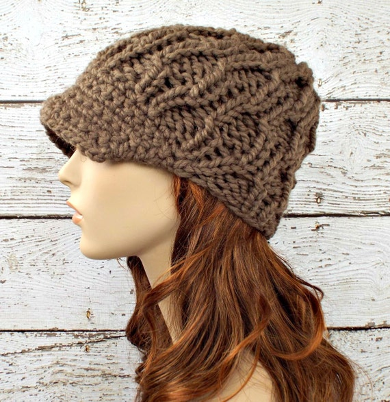 Knit Hat Brown Womens Hat Amsterdam Beanie with Visor in  047ff7d31a6
