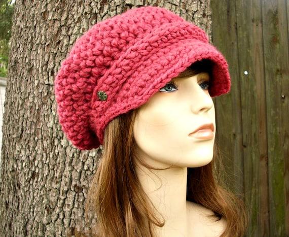 Raspberry Pink Newsboy Hat Womens Hat Slouchy Hat - Crochet Newsboy Hat Pink Crochet Hat - Pink Hat Womens Accessories