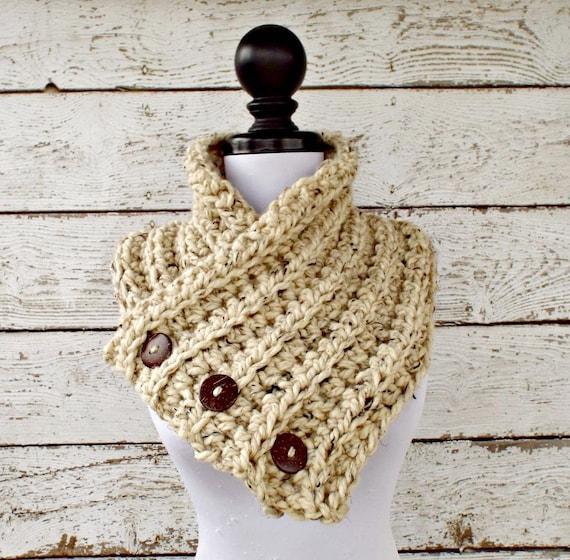 Crochet Cowl - Wellington Cowl in Oatmeal Tweed, Oatmeal Scarf, Oatmeal Cowl - Womens Accessories