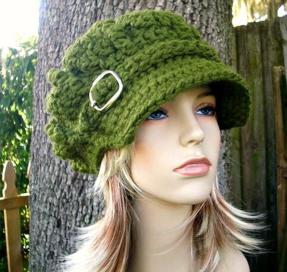 Crochet Hat Green Womens Hat Green Newsboy Hat - Oversized Monarch Ribbed Crochet Newsboy Hat Olive Green Crochet Hat - Womens Accessories