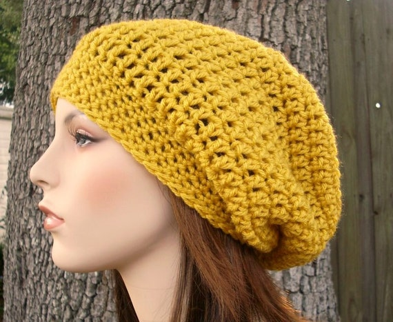 Crochet Hat Womens Hat Slouchy Beanie - Weekender Slouchy Hat in Mustard Yellow Crochet Hat - Yellow Hat Womens Accessories Winter Hat
