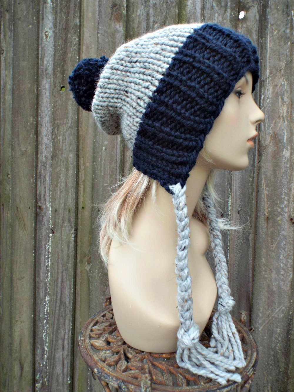 ecd59938e2a Chunky Knit Hat Womens Navy and Grey Pom Pom Hat - Slouchy Ear Flap Beanie  Braided Ties Warm Winter Hat - Charlotte - READY TO SHIP