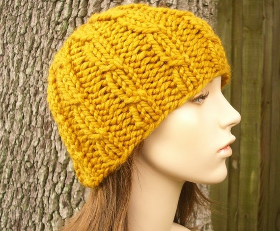 Knit Hat Mens Hat Womens Hat - Cable Beanie Butterscotch Golden Yellow Knit Hat - Yellow Hat Yellow Beanie Womens Accessories Winter Hat