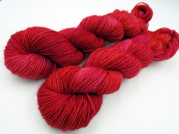 Hand Dyed Sock Yarn Superwash Wool Nylon 80/20 Fingering Weight Yarn Sock Yarn 50 Grams - Red Tonal Sock Yarn Red Yarn - Atomic Fire Ball