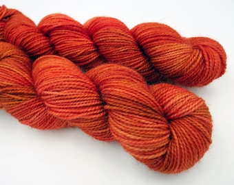 Hand Dyed Sock Yarn Superwash Wool Nylon 80/20 Fingering Weight Yarn Sock Yarn 50 Grams - Tonal Yarn Orange Yarn - Flame