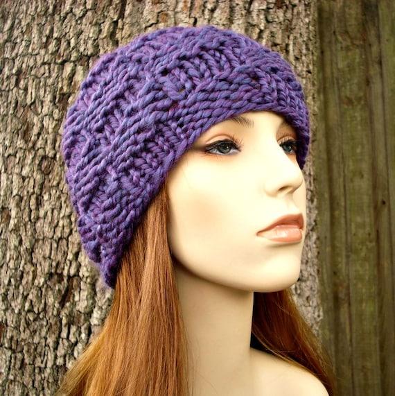 Knit Hat Womens Hat - Basket Weave Beanie in Violet Purple Knit Hat - Purple Hat Purple Beanie Womens Accessories Winter Hat