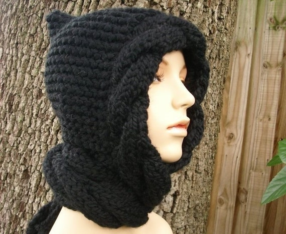 Knit Hat Black Womens Hat - Black Cable Scarf Hat - Black Hooded Scarf Black Knit Hat - Black Hat Black Scarf Womens Accessories