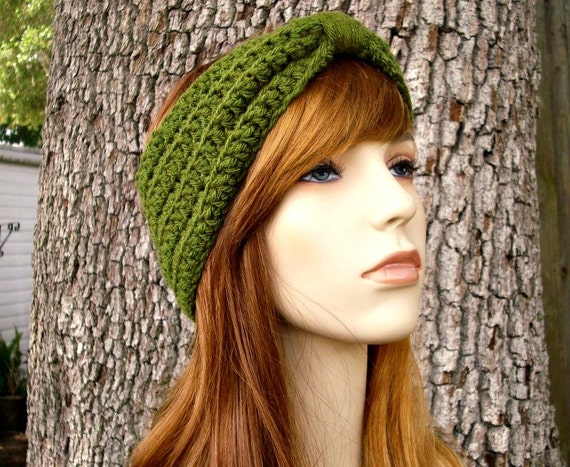 Womens Crochet Olive Green Headband Olive Green Ear Warmer Olive Green Turban - Crochet Turban Headband Olive Green - Womens Accessories