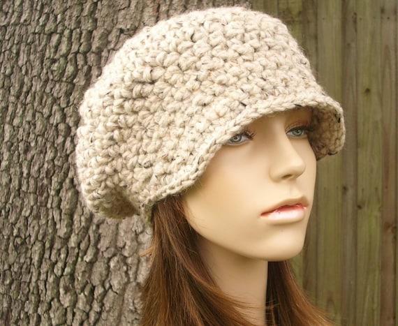 Oatmeal Womens Crochet Hat Oatmeal Newsboy Hat - Crochet Newsboy Hat Oatmeal Crochet Hat - Oatmeal Hat Womens Accessories Fall Fashion