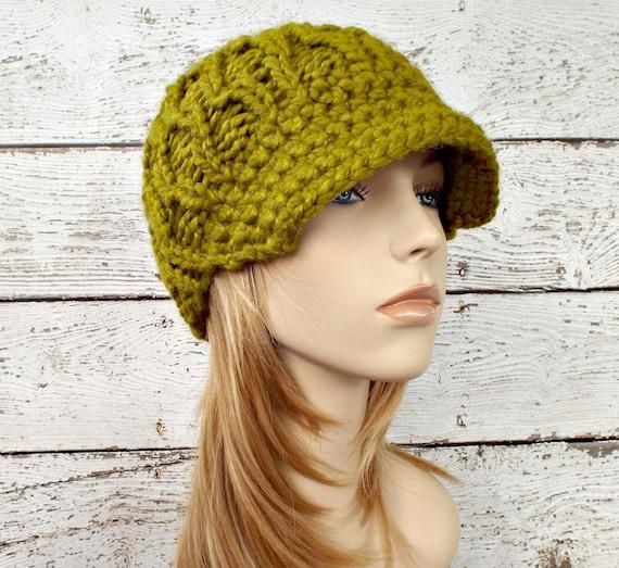 Knit Hat Green Womens Hat Green Newsboy Hat - Amsterdam Cable Beanie Visor Lemongrass Green Hat - Womens Accessories
