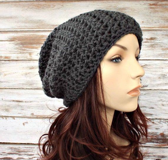Grey Mens Hat Grey Womens Hat - Slouchy Beanie Hat Charcoal Grey Crochet Hat Grey Hat Grey Beanie Womens Accessories - READY TO SHIP