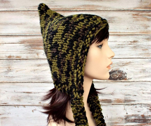 Knit Hat Womens Hat - Pixie Hat in Camouflage Camo Olive Green Black Knit Hat Camo Hat Womens Accessories Winter Hat