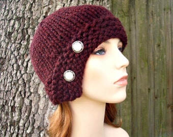 Knit Hat Womens Hat - Red Cloche Hat Oxblood Red Wine Knit Hat - Red Hat Red Beanie Burgundy Hat Oxblood Hat Womens Accessories Winter Hat