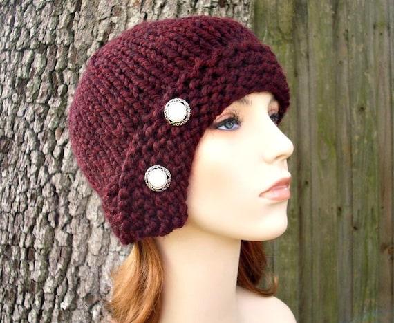 Knit Hat Womens Hat - Red Cloche Hat Oxblood Red Wine Knit Hat - Red Hat Red Beanie Burgundy Hat Oxblood Hat Womens Accessories Winter Hat