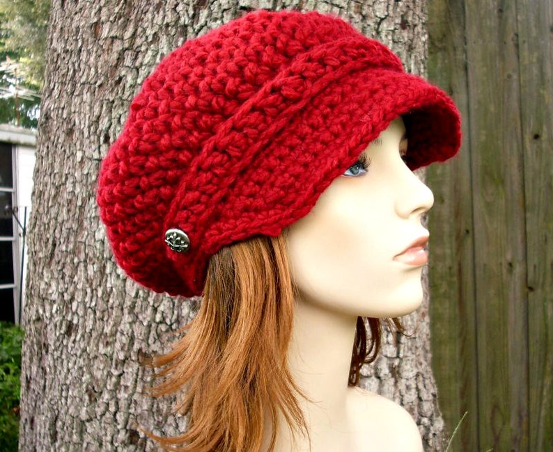 9a03931b1c6 Cranberry Red Newsboy Hat Red Crochet Hat Red Womens Hat Red
