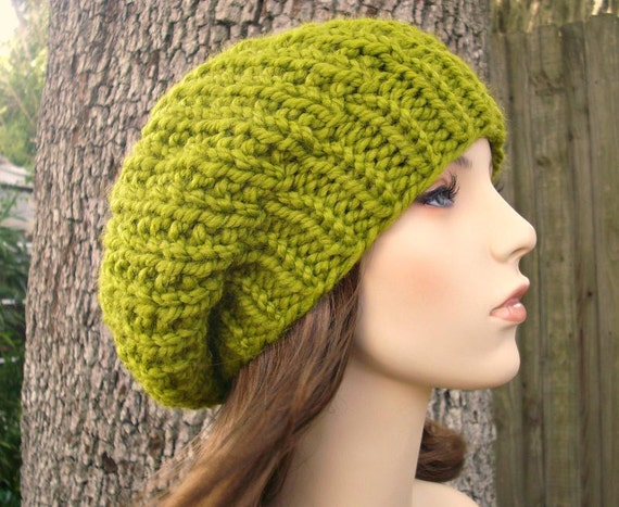 Chunky Womens Hat Slouchy Hat - Soho Beret Lemongrass Green Knit Hat Slouchy Beanie - Green Hat Green Beret Green Beanie Womens Accessories