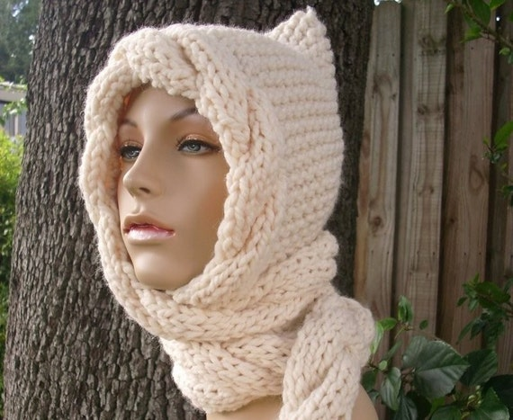 Cream Womens Ear Flap Hat - Cream Cable Scarf Hat - Hooded Scarf Cream Knit Hat - Cream Scarf Cream Hat Knit Accessories