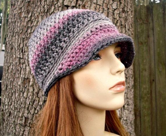 Crochet Hat Womens Hat Grey Hat - Biloxi Skullcap Beanie with Visor in Shadow Grey Charcoal Pink Crochet Hat - Womens Accessories Winter Hat