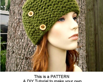 Instant Download Knitting Pattern - Knit Beanie Pattern - Knit Hat Pattern for Cardigan Beanie - Womens Hat Pattern - Womens Accessories