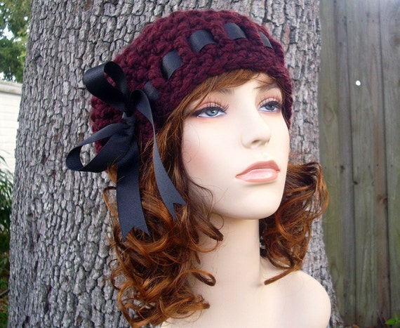 Crochet Hat Red Womens Hat - Escargot Beret in Oxblood Wine Red Crochet Hat - Red Hat Red Beret Red Beanie Burgundy Beret Womens Accessories