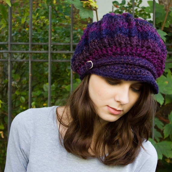 Purple Newsboy Hat Crochet Hat Womens Hat - Spring Monarch Ribbed Crochet Newsboy Cap Grape Purple Hat - Womens Accessories