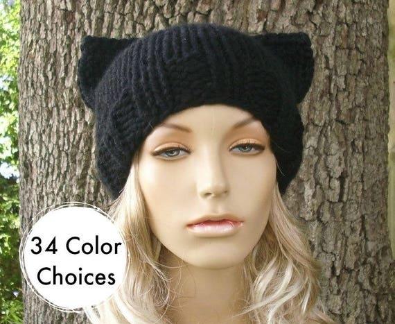 Black Cat Hat Black Cat Beanie Black Knit Hat Black Womens Hat - Black Hat Black Beanie Womens Accessories Winter Hat
