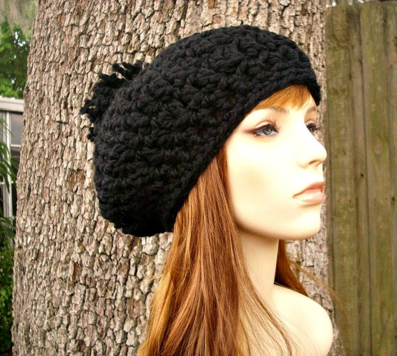 Crochet Hat Black Womens Hat Slouchy Hat - Pom Pom Beret in Black Crochet Hat - Black Hat Black Beret Black Beanie Womens Accessories