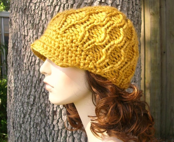 Knit Hat Womens Hat Yellow Newsboy Hat - Amsterdam Cable Beanie with Visor in Goldenrod Yellow Knit Hat Womens Accessories