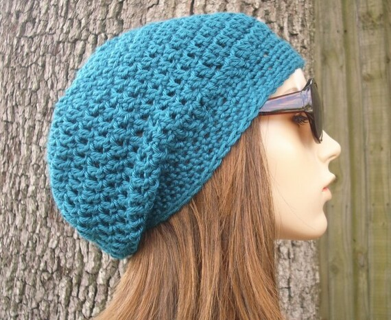 Teal Blue Crochet Hat Blue Womens Hat Slouchy Beanie - Weekender Slouchy Hat Blue Hat Blue Beanie Womens Accessories Winter Hat