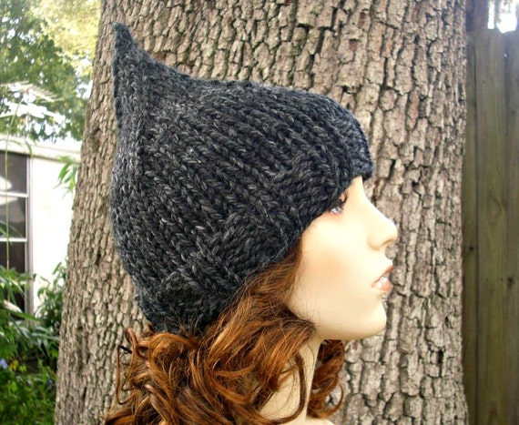 Knit Hat Grey Womens Hat - Gnome Hat in Charcoal Grey Knit Hat - Grey Hat Grey Gnome Hat Womens Accessories Winter Hat