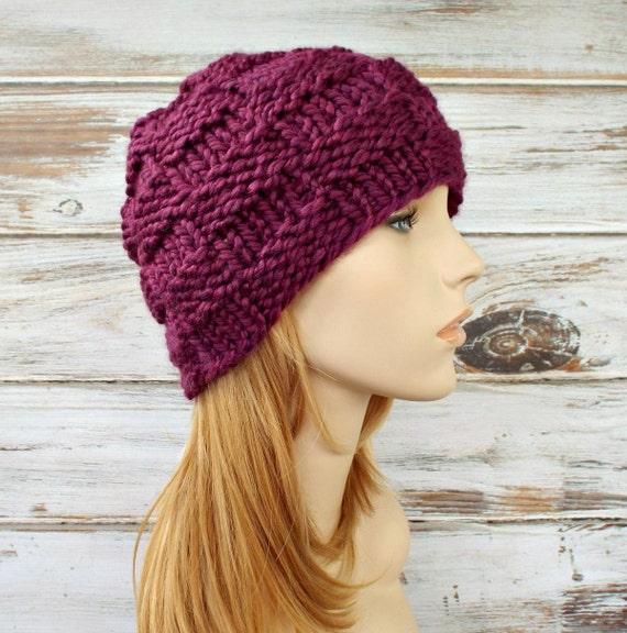 Purple Womens Hat - Basket Weave Beanie Red Violet Purple Knit Hat - Purple Hat Purple Beanie Womens Accessories Winter Hat