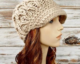 Knit Hat Womens Hat Cream Newsboy Hat Cream Hat - Amsterdam Beanie in Linen Cream Newsboy Hat Knit Hat Womens Accessories
