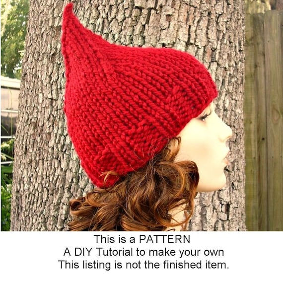 Instant Download Knitting Pattern - Knit Hat Knitting Pattern - Knit Hat Pattern for Gnome Hat Pattern - Womens Hat - Womens Accessories