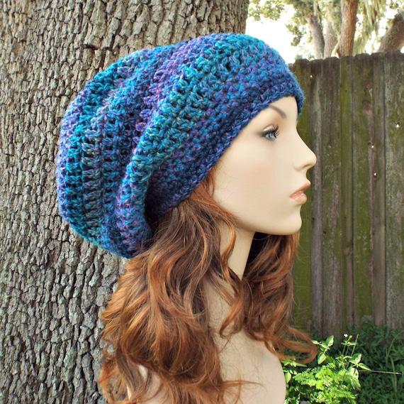 Blue Womens Hat Slouchy Beanie - Weekender Slouchy Hat Caribbean Blue Crochet Hat - Blue Hat Blue Beanie Womens Accessories