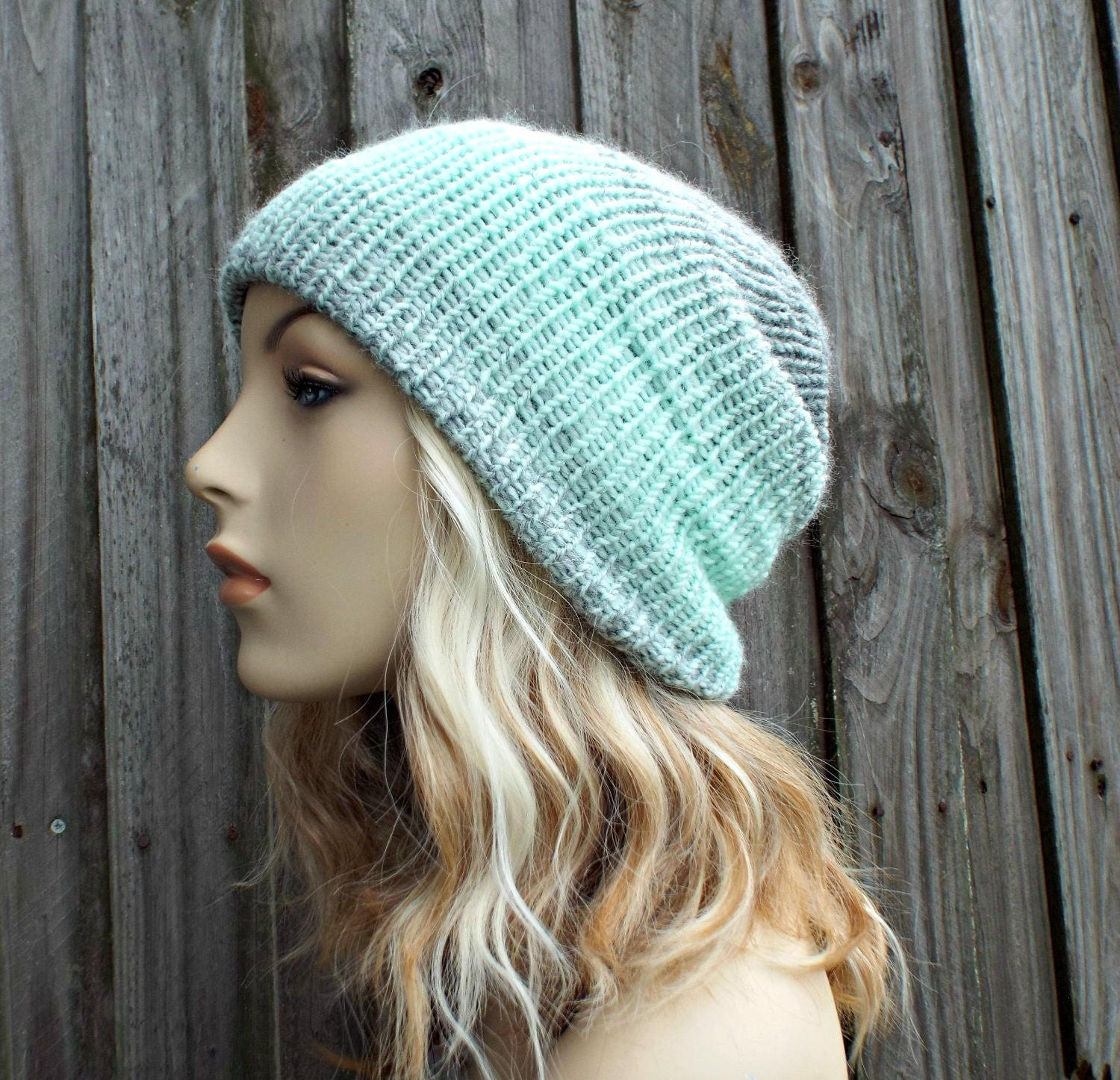 5f530623460 Double Knit Hat Silver and Mint Womens Beanie