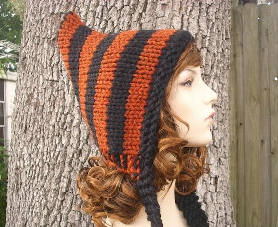 Knit Hat Womens Hat - Burnt Orange and Black Pixie Hat - Black Hat Orange Hat Womens Accessories Winter Hat