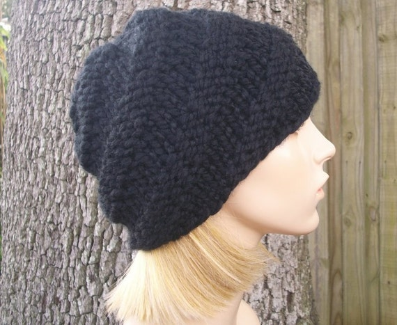 Knit Hat Black Womens Hat - Swirl Beanie in Black Knit Hat - Black Hat Black Beanie Womens Accessories Winter Hat