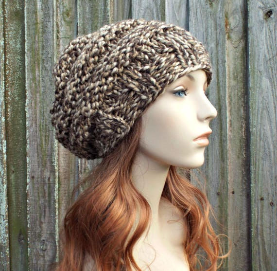 Knit Hat Womens Hat Slouchy Beanie - Oversized Beehive Beret Toffee Brown Hand Knit Hat - Brown Beret Brown Beanie Brown Hat