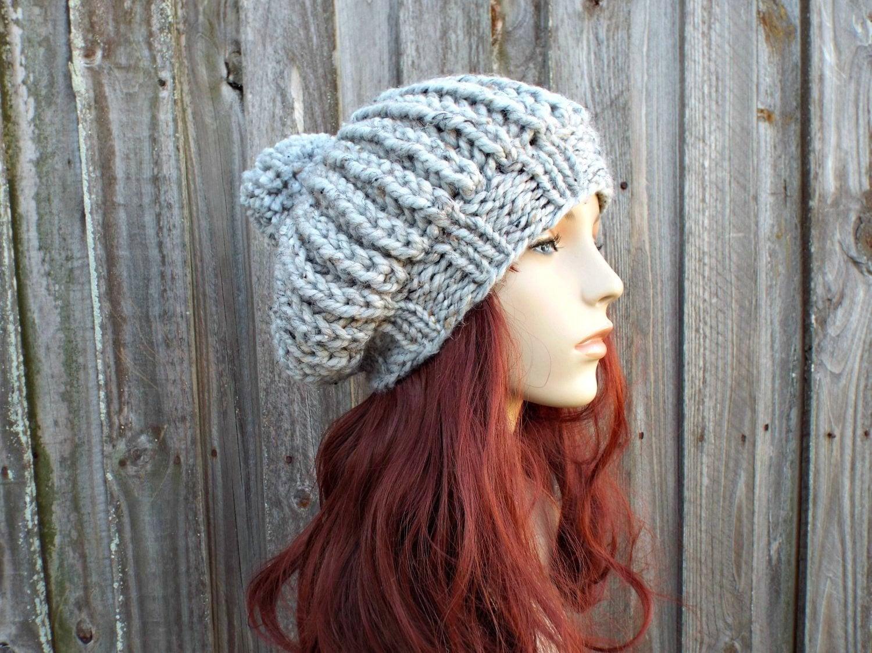 3db7c8f826de3 Tweed Grey Hat Womens Hat Oversized Beret With Pom Pom Knit Pom Beanie -  Ludmilla Ribbed Beret Knit Hat Grey Beanie Grey Beret