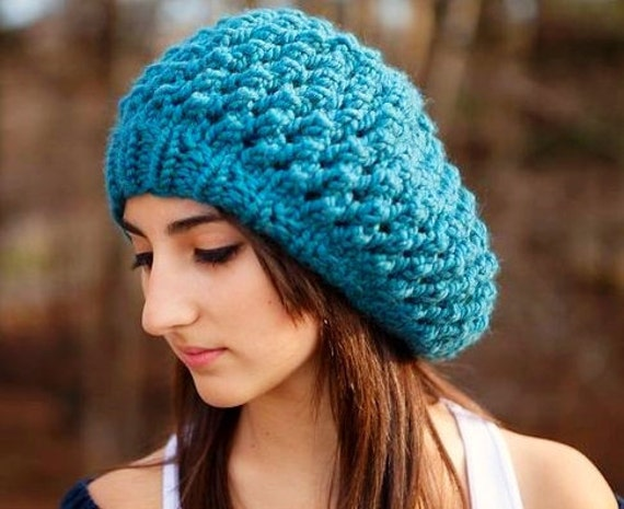 Knit Hat Womens Hat Slouchy Beanie - Odessa Beret in Teal Blue Knit Hat - Womens Accessories