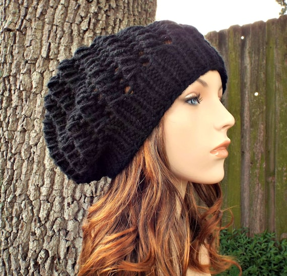 Black Slouchy Beanie Womens Hat - Spring Cyclone Beret Knit Hat - Black Hat Black Beanie Womens Accessories Fall Fashion Winter Hat