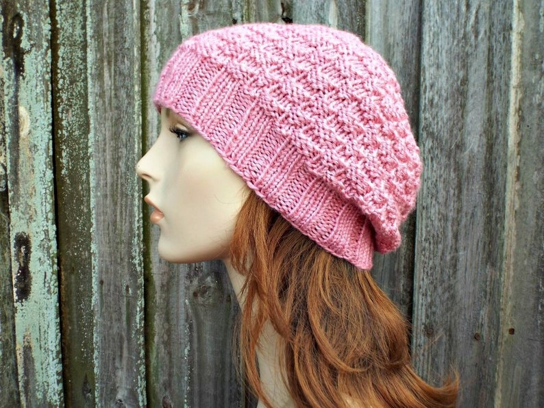 a16cb7b4484 Pink Basket Weave Beanie Pink Hat Pink Beanie Pink Womens Hat