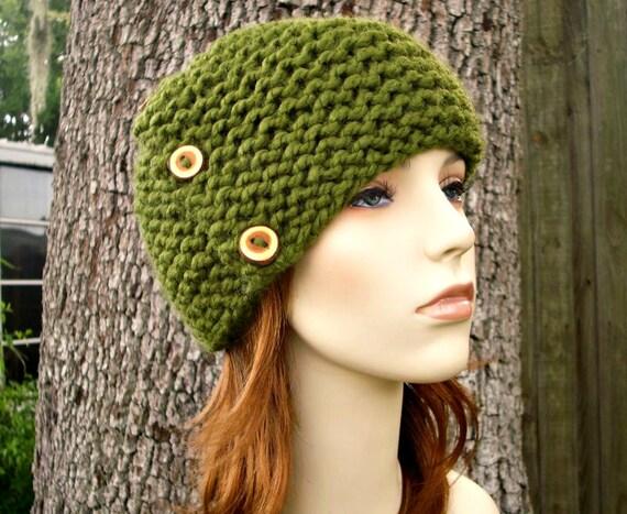 Knit Hat Womens Hat - Cardigan Beanie Hat in Olive Green Knit Hat - Green Hat Green Beanie Womens Accessories Winter Hat
