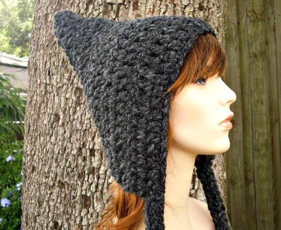 Crochet Hat Womens Hat - Pixie Hat in Charcoal Grey Crochet Hat - Grey Hat Grey Pixie Hat Womens Accessories Winter Hat