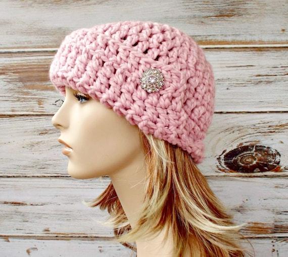 Crochet Hat Womens Hat 1920s Flapper Hat - Garbo Cloche Hat in Blossom Pale Pink Crochet Hat - Womens Accessories Winter Hat