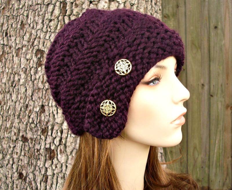 Knit Hat Womens Hat Hybrid Swirl Cloche Hat In Eggplant Etsy