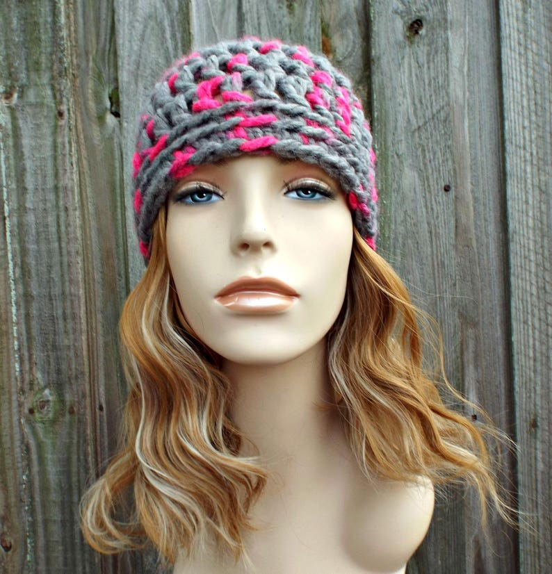 a5690ec4308a2 Grey and Hot Pink Beanie Pink Crochet Hat Pink Womens Hat