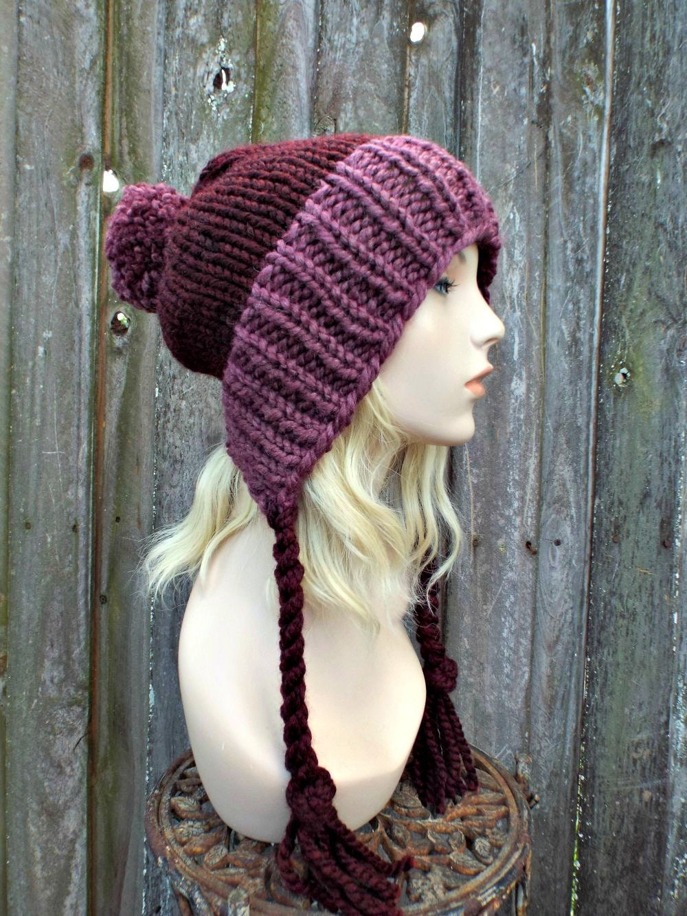 21556f2d845 Chunky Knit Hat Womens Wine and Purple Pom Pom Hat - Slouchy Ear Flap Beanie  Braided Ties Warm Winter Hat - Charlotte