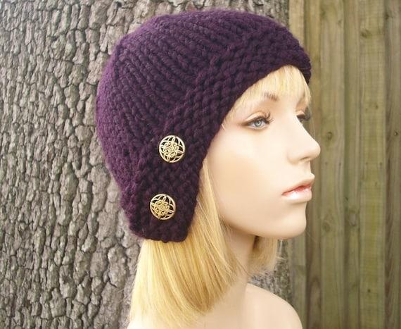 Knit Hat Womens Hat - Cloche Hat in Eggplant Purple Knit Hat - Purple Hat Purple Beanie Womens Accessories Winter Hat