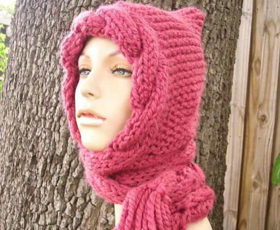Pink Womens Hat Hooded Scarves - Pink Cable Scarf Hat Raspberry Pink Hooded Scarf Knit Hat - Pink Hat Pink Scarf